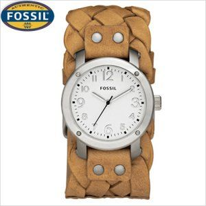 FOSSIL Womens Leather Braided Cuff Watch (New)